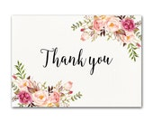 Ivory Thank you Card, Floral Thank You Card, Wedding Thank You Cards, Printable Thank You Card, Ivory Thank You Note, Thank You Card Set
