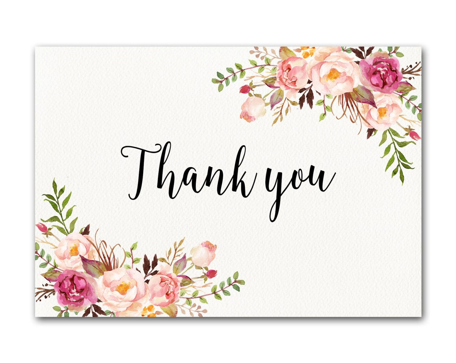 Ivory Thank you Card Floral Thank You Card Wedding Thank You