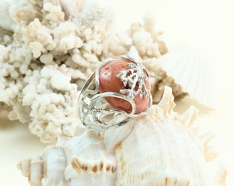 925 Sterling Silver ring Worked with red coral in the Mediterranean Made in Italy