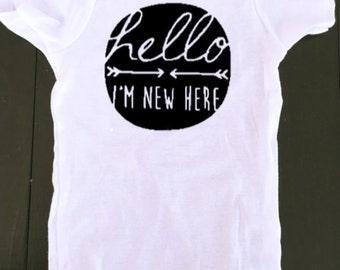 New Born Onesie - Hello I'm New Here - Baby Onesie