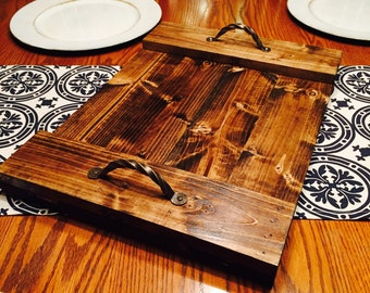 Rustic Wood Tray, decor tray, handmade wooden tray, metal handles