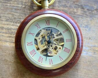 Wood Wind-Up Pocket Watch Necklace. Beveled Glass Window, Wood / Brass Casing Vintage Style Watch (BB053)