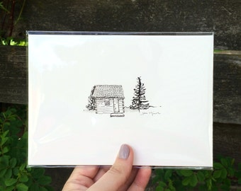 ORIGINAL ARTWORK - Minnesota Cabin - Cabin in the woods, Ink and Ink wash - 5x7 inches