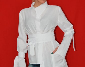 White Maxi Tunic, White Cotton Shirt, Deconstructed Shirt, Soft Tunic, Asymmetric Top, Casual Tunic, Modern Tunic-Astraea-2004