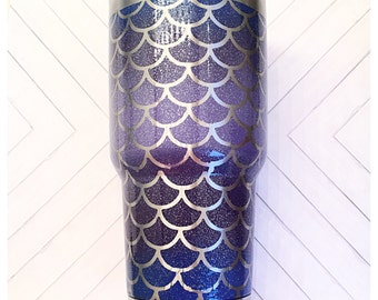 Glitter Mermaid 30oz stainless Steel Cup, can't be a mermaid without water, 30oz stainless mermaid glitter cup, mermaid  glitter Scales cup