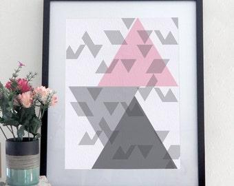 Geometric Print, Wall Art, Unframed Print, Grey & Pink Wall Art