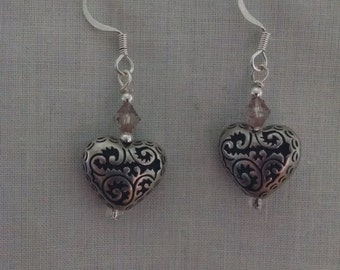 Silver heart and crystal drop earrings