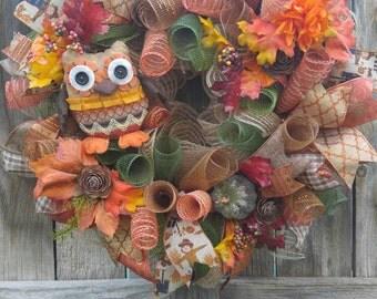 Owl wreath, owl mesh wreath, fall wreath, fall mesh wreath, Autumn wreath, thanksgiving wreath