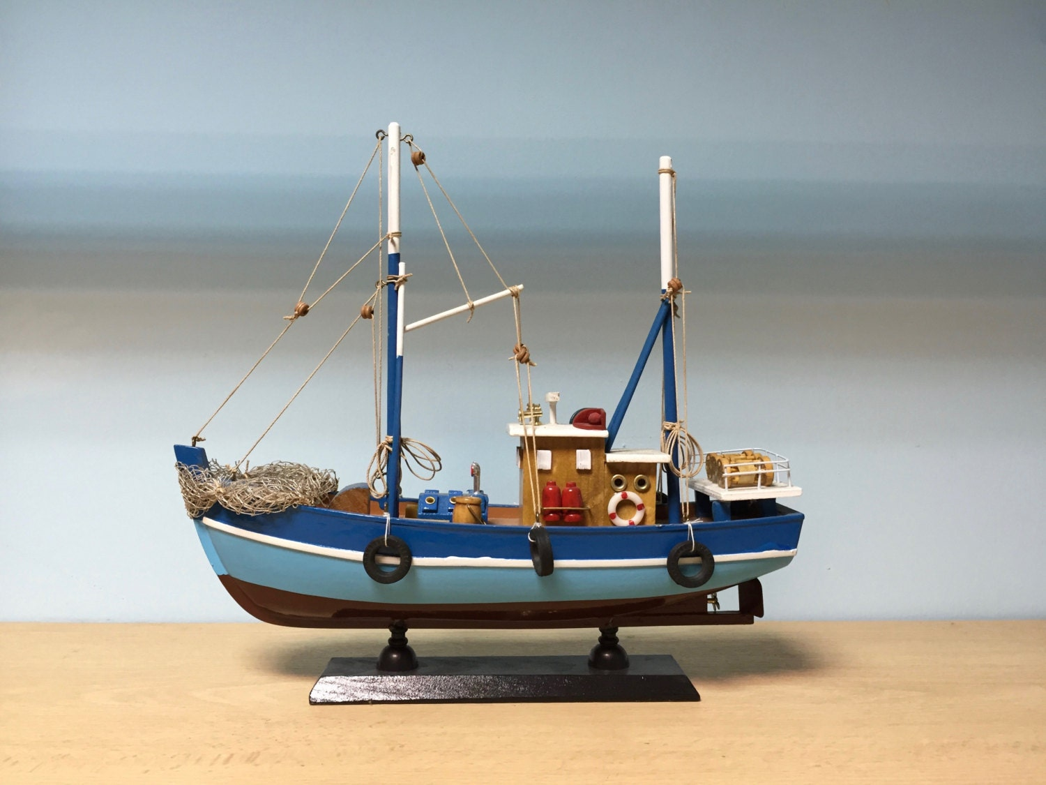 Wooden light blue fishing boat miniature by giftlanddeco for Fishing boat lights