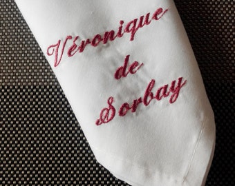 custom embroidered napkin
