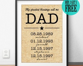 Father's Day Gift, Dad Gift, Grandfather Gift, Father Print, My Greatest Blessings Call Me Dad, Personalized Gift, Burlap Wall Decor, CM03