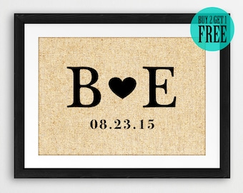 Personalized Love Sign, Burlap Print, Rustic Home Decor, Established Date, Anniversary Gifts, Wedding Gifts, Boyfriend Gift, Wife Gift, CM91
