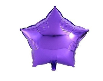 Purple metallic star shaped balloon 45 cm
