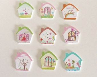 10 House Buttons ~ Home Buttons ~ House Shaped Buttons ~ Wooden Buttons ~ House Embellishments ~ Card Making ~ Scrapbooking ~ Sewing