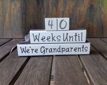 Grandparents countdown/hand painted/New Baby Countdown blocks/Weeks until/baby arrives Pregnancy Coutdown Baby shower gift/new parent gift