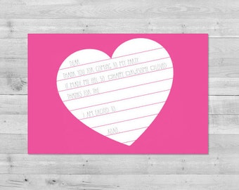 Heart Fill In Thank You Card | Fill In Thank You Note | Fill-In Thank You Note | Thank You Notes | Printable PDF