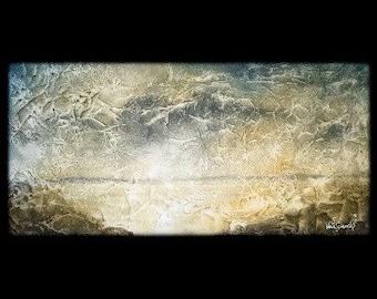 ORIGINAL 18x36 abstract painting - Golden Beach - KacieArtGallery