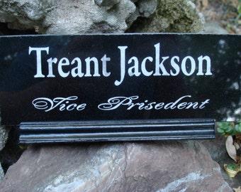 Desk Name Plate, Black Granite, desk name plaque,  Office Desk Name Plate , Gabbro, Sandblast, Laser Engraving , Wood