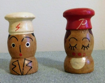 Vintage Wood Hand Carved Salt and Pepper Shakers circa 1950's