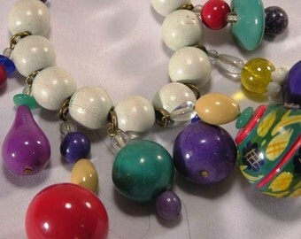 Vintage Necklace, with wooden colorful assorted  Beads