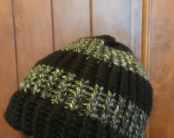 Black and Gray Striped Knitted Beanie Hat