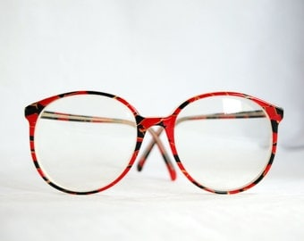 Round Vintage Eye Glasses - Red, Black & Gold Plus Vintage Case with Flowers - Great Condition!