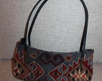 Yun Art Vintage Turkish Kilim Rug Handbag Handwoven Wool Purse