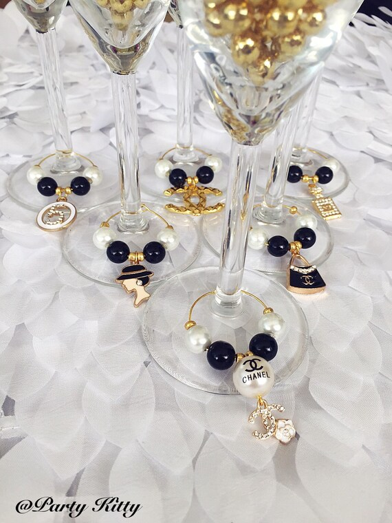 Black Amp Gold Chanel Themed Party Wine Glass Charms By
