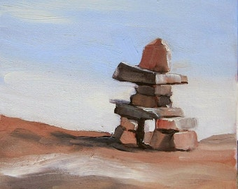 Small Art - Inuksiuk #7 - Oil Painting 8x10 - SHIPPING Included
