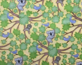 Koala  Fabric - 1 Yard Cut - Cutie Critters  Fabric - AE Nathan  Fabric - Cotton Fabric - Quilting Fabric