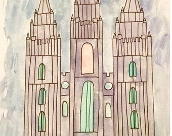 Salt Lake City LDS Temple watercolor