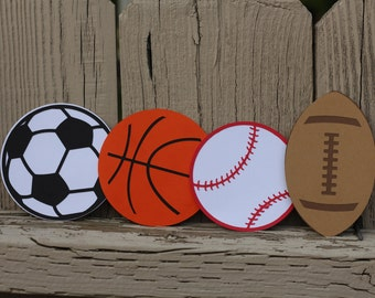 8 SPORT BALLS CENTERPIECES--4x4--Any One Ball--Confetti--Cupcake Toppers--Sport Ball Garland