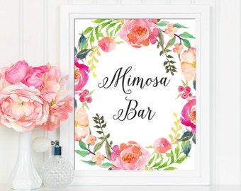 Mimosa Sign, Mimosa Bar Sign, Bubbly Bar Sign, Mimosa Bar Printable, Floral Mimosa Sign, Bridal Shower Sign, Printable Bridal Shower Decor