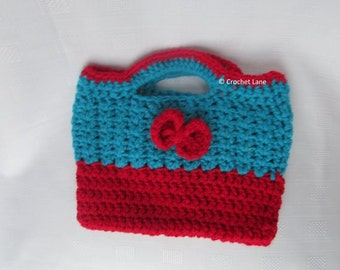 childrens bow bag, childrens hand bag, crochet, baby boutique, baby accessory,