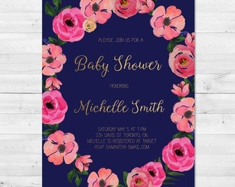 Baby Shower Invitation Girl, Floral Wreath Baby Shower Invitation, Floral Baby Shower Invitation