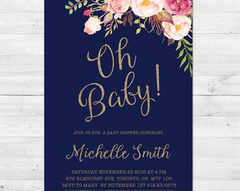 Baby Shower Invitation Girl, Boho, Navy, Watercolor Baby Shower Invitation, Flowers, Watercolor, Printable, Printed