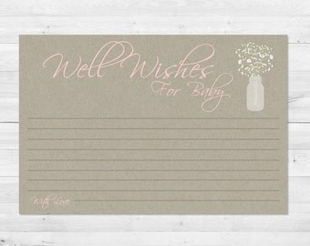 Well Wishes For Baby, Rustic, Mason Jar, Baby Shower Games, Floral, Kraft Paper, Instant Download, Babies Breath