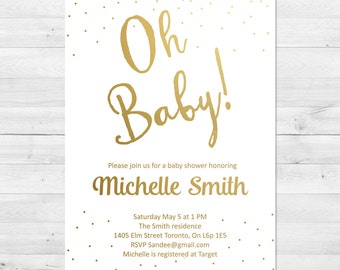 Baby Shower Invitation Girl, White And Gold Baby Shower Invitation, Gender Neutral, Girl Baby Shower Invitation, Confetti Baby Shower Invit