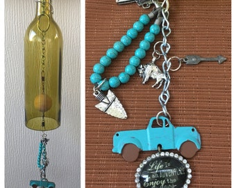 Old Country Living: Enjoy the Ride Handmade Wind Chime made from a Recycled Wine Bottle