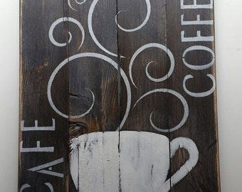 Coffee Cafe Sign Reclaimed Barn Wood Sign