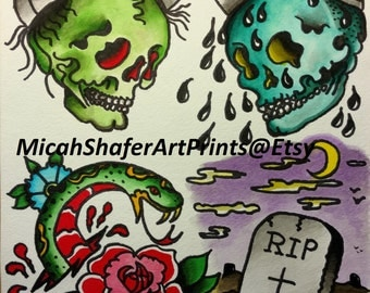Neo Traditional Traditional Tattoo Flash Print Red Skull