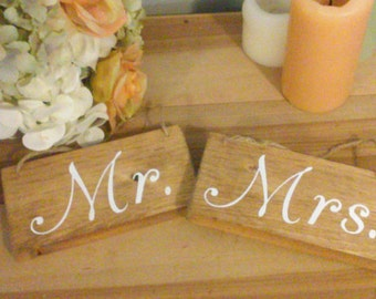 Mrs Mr Rustic Wedding Chair Signs Decorations bride groom