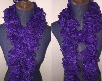 Handmade Crochet Ruffle Scarf - Purple