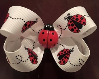 Ladybug twisted boutique bow