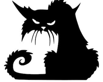 Creepy Black Cat Vinyl Decal