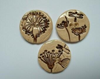 3 handmade buttons 30 mm flower in enamelled ceramic