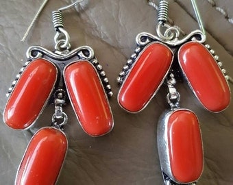 Red Coral Gemstone Earrings!