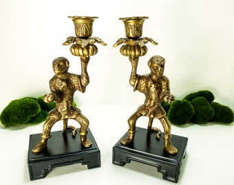 Pair Vintage Castilian Bronze Brass Monkey Candlestick Candle Holders Heavy Hollywood Regency