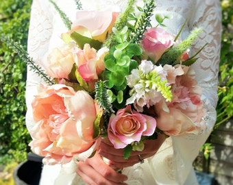 Custom Made Artificial Flower Wedding Bouquet - Pretty Pink Featuring Roses, Peonies, Veronica