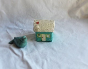 Small, Little Paper Mache House; Turquoise House with Heart